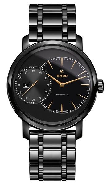 Часы Rado DiaMaster Grande Seconde  657.0127.3.015 (черный циферблат). Керамика, автоподзавод, запас хода – 42 часа, водонепроницаемость – 100 м, диаметр – 43 мм, толщина – 11.3 мм, керамический браслет