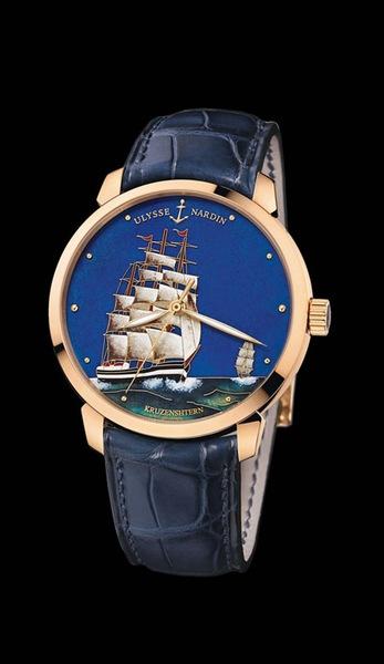Ulysse Nardin Marine Chronometer Manufacture Артикул: 8156-111-2/KRUZ – 18К розовое золото. Автоподзавод, запас хода – 42 часа, диаметр – 40 мм, водонепроницаемость – 50 м, кожаный ремешок, лимитированная серия – по 30 экз.