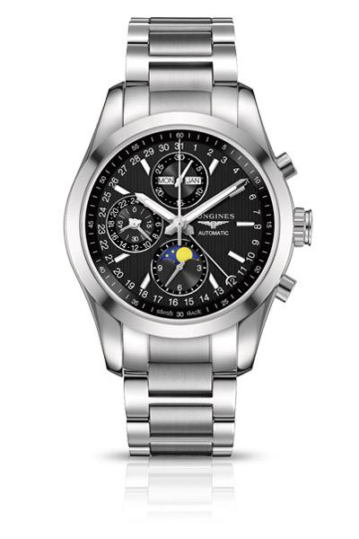 Longines L.2.798.4.52.6 Сталь/сталь+18К розовое золото/18К розовое золото; автоподзавод; запас хода: 48 часов; хронограф; функции:часы, минуты, малая секундная стрелка и указатель 24-часов в положении «9 часов», день недели, месяц и указатель фаз луны, центральная стрелка с указателем в виде полумесяца показывает дату по шкале вокруг циферблата; Ø 42.00 мм; водонепроницаемость: 50 м; браслет из стали/стали+18К розовое золото или ремешок черного цвета из кожи аллигатора.