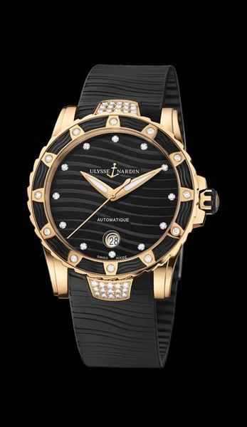 Ulysse Nardin Lady Diver Starry Night Артикул: 8156-180E-3C/20 8156-180E-3C/22 18K розовое золотo, автоподзавод, запас хода – 42 часа, диаметр - 40 мм, водонепроницаемость – 100 м, каучуковый ремешок, бриллианты