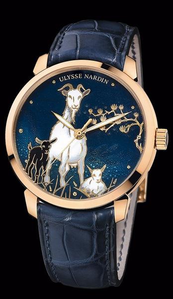 Ulysse Nardin Classico Goat Артикул: 8156-111-2/CHEVRE 18К розовое золото, автоподзавод, запас хода – 42 часа, диаметр – 40 мм, водонепроницаемость – 50 м, кожаный ремешок, лимитированная серия  88 экз
