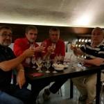 В недрах винной пещеры: Ефим Пахульский, Владимир Борисов, Лев Марский и Александр Толстобров