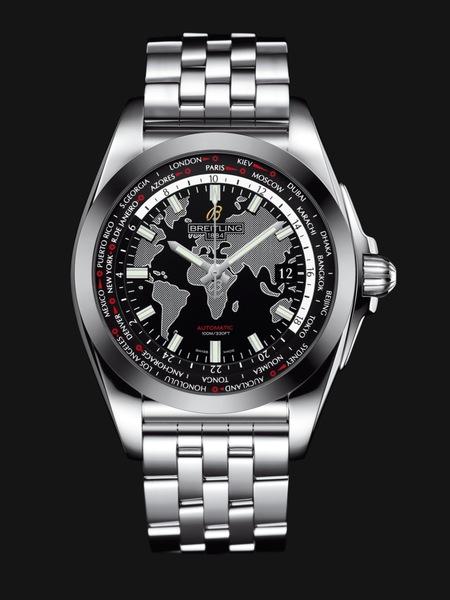 Breitling Galactic Unitime SleekT Сталь, автоподзавод, запас хода – 74 час.,  мировое время, диаметр 44 мм, толщина -  15.30 мм, водонепроницаемость – 100 м, стальной браслет