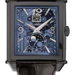 Girard Perregaux Vintage 1945 XXL: титан с черным DLC-покрытием, автоподзавод, мануфактурный калибр GP 03300-0105/0062, запас хода – 46 часов, водонепроницаемость – 30 метров, синий прозрачный поликристаллический циферблат.