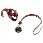 Hermes In The Pocket: 18К розовое золото, автоматический механизм Vaucher H1837 для карманных часов, запас хода – 50 часов. Новинка отличается тем, что она может использоваться в качестве карманных часов, в качестве кулона на кожаном шнурке, а также легко трансформироваться в наручные часы с помощью специального ремешка из крокодиловой кожи.