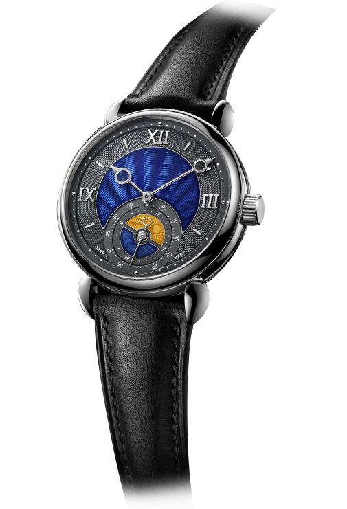 Voutilainen GMT-6 wristwatch: нержавеющая сталь, ручной завод, 39,0 х 11.5 мм, эмалевый циферблат. Техническая особенность: два спусковых колеса, обеспечивающих прямой импульсный спуск.