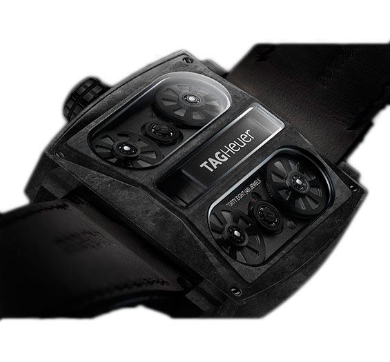 TAG HEUER MONACO V4 PHANTOM Артикул: WAW2091.FC6369 Корпус из углеволокна, ременная передача, автоподзавод, запас хода – 42 часа, размеры: 41.00 x 41.00мм, кожаный ремешок