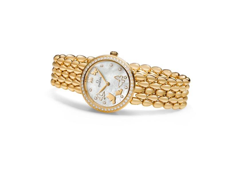 OMEGA De Ville Prestige Dewdrop 18К розовое или желтое золото, автоподзавод, запас хода: 48 часов, диаметр: 32.70 мм, толщина: 9.55 мм, водонепроницаемость: 30 м, золотой браслет, бриллианты