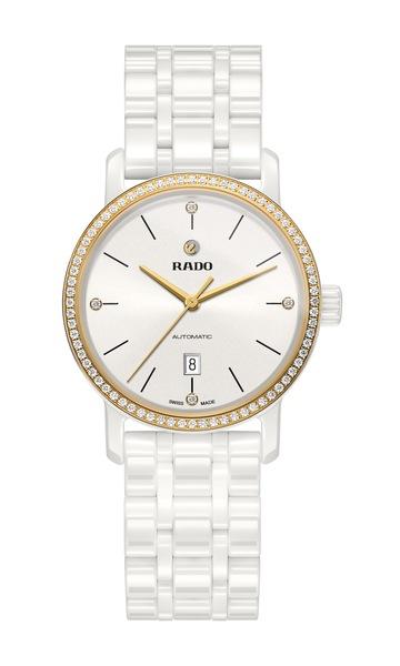 Rado DiaMaster Diamonds 580.0098.3.272  (белый циферблат)  Керамика, автоподзавод, запас хода – 38 часов, диаметр – 33 мм, толщина – 10.05 мм, водонепроницаемость – 50 бар, керамический браслет