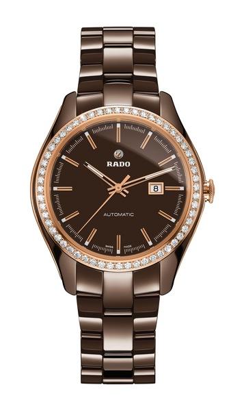 Часы Rado HyperChrome Diamonds  01.580.0177.3.030 (коричневый). Керамика, автоподзавод, запас хода – 38 часов, водонепроницаемость – 50 м, диаметр – 36 мм, толщина – 10.4 мм, керамический браслет