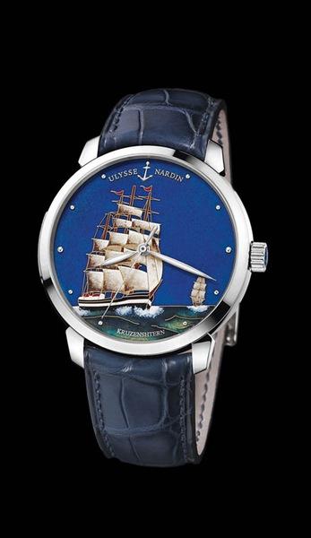 Ulysse Nardin Marine Chronometer Manufacture Артикул: 8150-111-2/KRUZ – 18К белое золото. Автоподзавод, запас хода – 42 часа, диаметр – 40 мм, водонепроницаемость – 50 м, кожаный ремешок, лимитированная серия – по 30 экз.