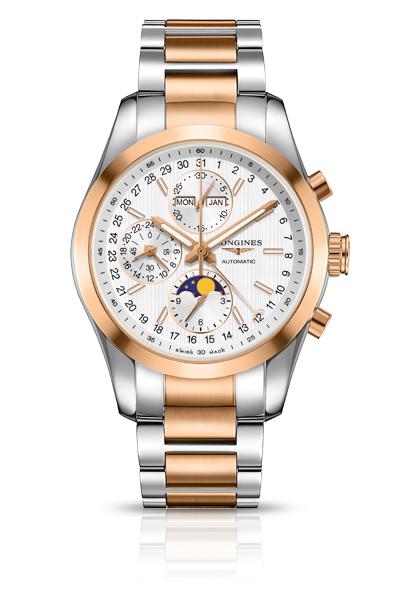 Longines L.2.798.5.72.7 Сталь/сталь+18К розовое золото/18К розовое золото; автоподзавод; запас хода: 48 часов; хронограф; функции:часы, минуты, малая секундная стрелка и указатель 24-часов в положении «9 часов», день недели, месяц и указатель фаз луны, центральная стрелка с указателем в виде полумесяца показывает дату по шкале вокруг циферблата; Ø 42.00 мм; водонепроницаемость: 50 м; браслет из стали/стали+18К розовое золото или ремешок черного цвета из кожи аллигатора.