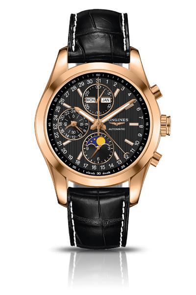 Longines L.2.798.8.52.3 Сталь/сталь+18К розовое золото/18К розовое золото; автоподзавод; запас хода: 48 часов; хронограф; функции:часы, минуты, малая секундная стрелка и указатель 24-часов в положении «9 часов», день недели, месяц и указатель фаз луны, центральная стрелка с указателем в виде полумесяца показывает дату по шкале вокруг циферблата; Ø 42.00 мм; водонепроницаемость: 50 м; браслет из стали/стали+18К розовое золото или ремешок черного цвета из кожи аллигатора.