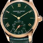 Frederique Constant Horological Smartwatch for Only Watch: 18K розовое золото, трекер активности MotionX®, 42 мм, темно-зеленый циферблат, многофункциональный аналоговый малый циферблат на отметке «6» часов. На последнем реализуются различные функции, включая отслеживание деятельности и мониторинг сна. Соединение Horological Smartwatch с iPhone 6 осуществляется посредством Bluetooth. Кстати, тот, кто выиграет эти часы, станет и обладателем iPhone 6, с которым часы идут в паре в одной коробке.