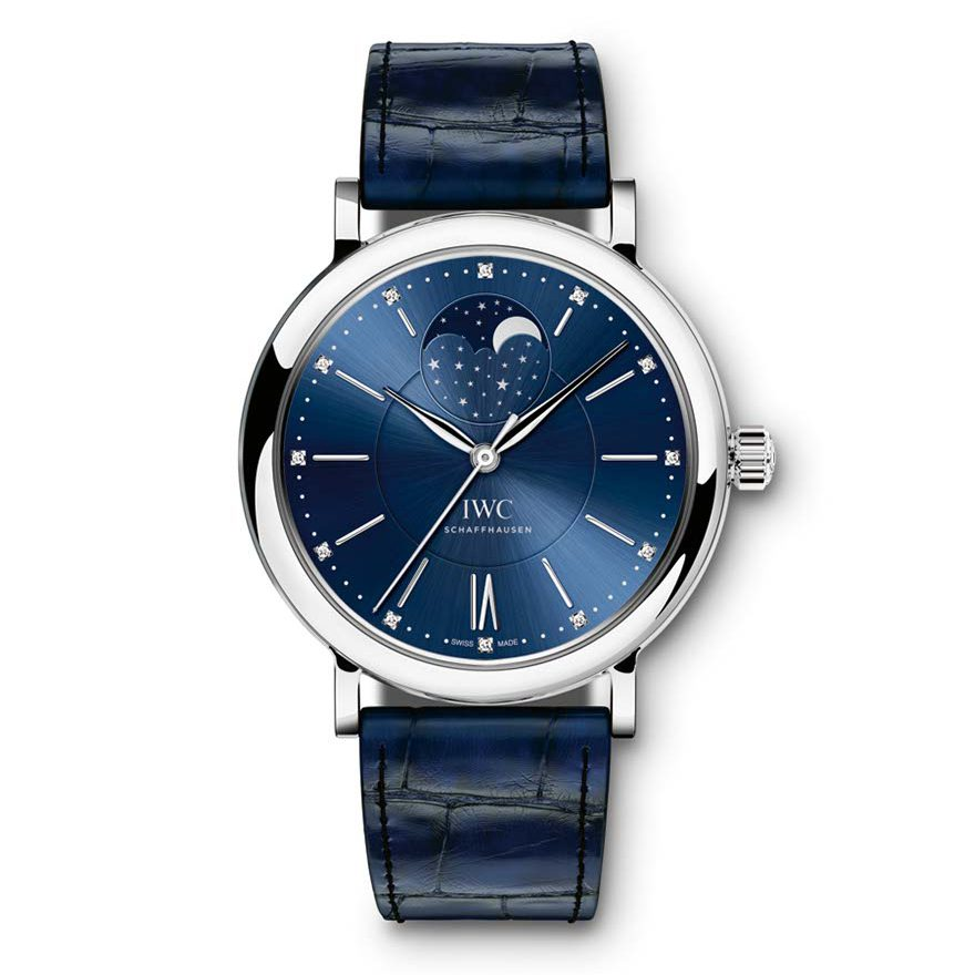"HANDOUT – The Portofino Automatic Moon Phase 37 Edition ""Laureus Sport for Good Foundation"" (REF.IW459006) from IWC Schaffhausen features a moon phase display and a case in stainless steel with a blue dial with 12 diamonds, combined with a blue alligator leather strap from Santoni and a stainless steel pin buckle. It is driven by the automatic 35800-calibre move¬ment with a power reserve of 42 hours. The timepiece is limited to 1,500 watches worldwide (PHOTOPRESS/IWC)"