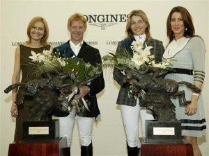 Кристина Либхер и Маркус Енинг, обладатели Longines Press Award for Elegance с Ингеборгой Дапкунайте и Принцессой Тамарой